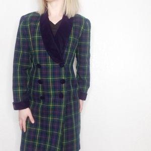 90s Vintage Plaid Double Breasted Blazer Jacket